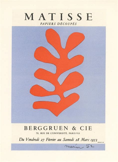 Print of the Matisse poster for the 1953 exhibition of