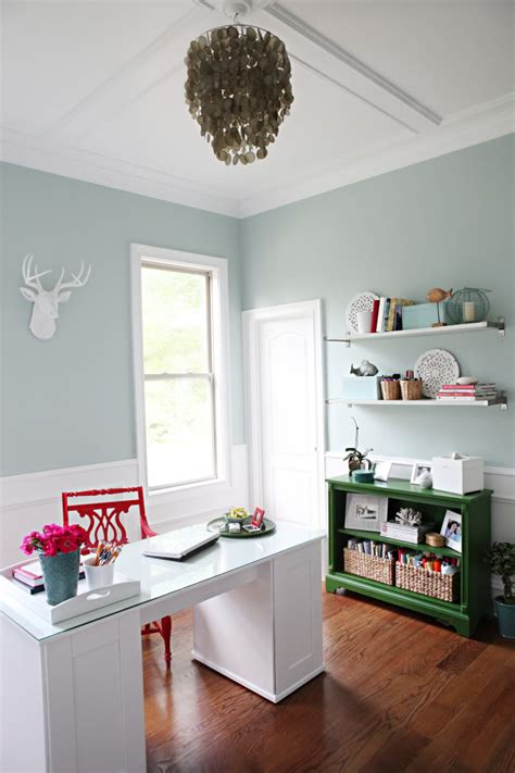 Palladian Blue and Red Home Office - Interiors By Color