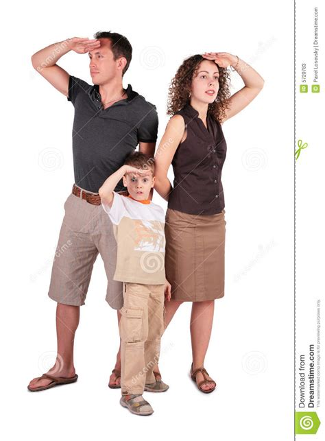 Father, Son And Mother Look Out For Something Stock Image